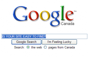 "Google Search box with text ""Site easy to find?"" typed into it."
